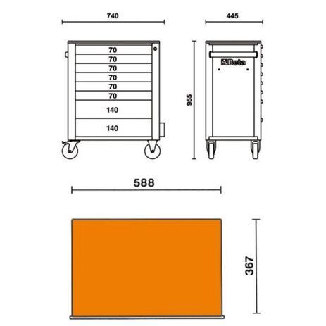 _Werkzeugwagen mit Acht Schubladen Beta Tools | C24S-8-O-P | Greenland MX_