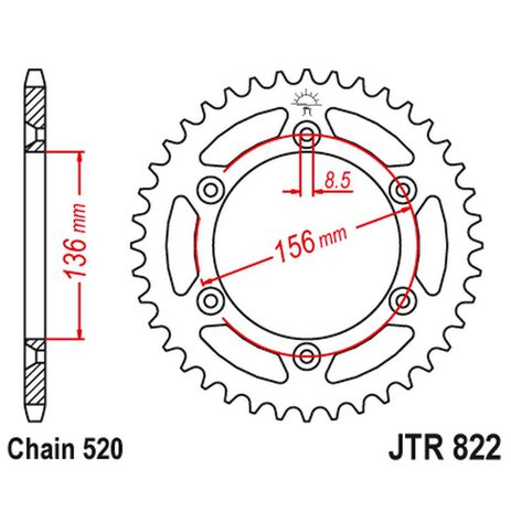_JT Stahl Kettenrad Hinten Gas Gas EC 96-19 Husqvarna ..-13 Sherco 05-.. Beta 06-12 | JTR-822 | Greenland MX_